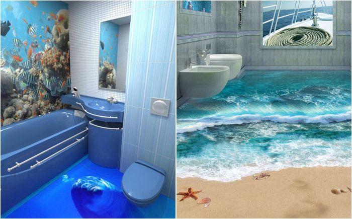 Gulv med 3D-effekt på badet