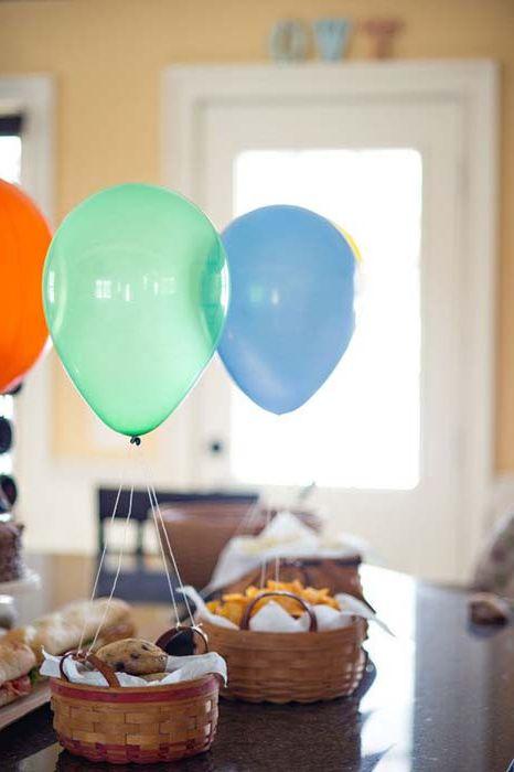 Кошници за сладкиши, превърнати в балони.