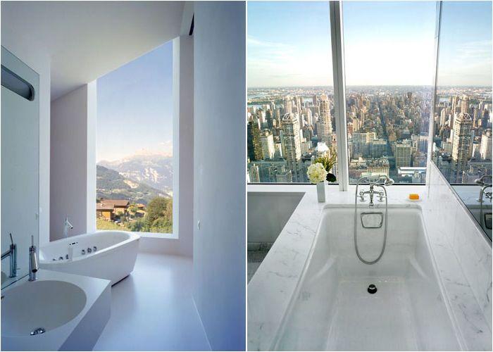 Ванные комнаты с панорамным видом из окна