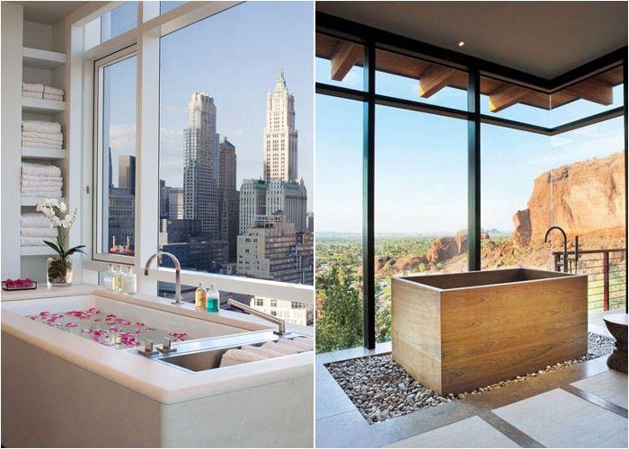Интерьер ванной с панорамным видом