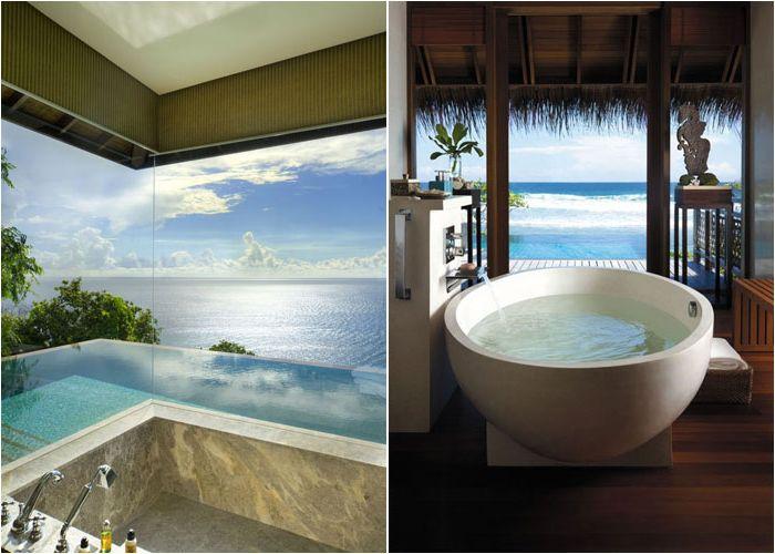 интерьер ванной комнаты с панорамным видом