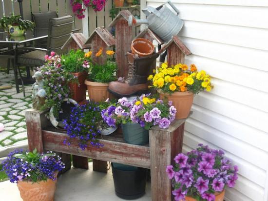 Градина - саксии за цветя - най-добрите идеи-333