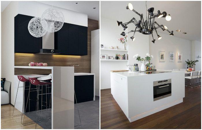Лампи, които са акценти в интериора на малка кухня.