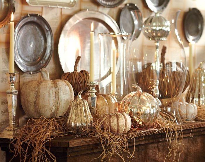 Интериорен дизайн с есенен декор за кухнята.