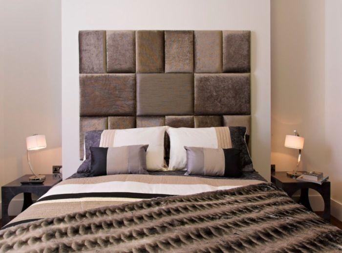 Zagłówek łóżka wykonany ze skóry i tekstyliów stanie się atrakcją wnętrza sypialni.