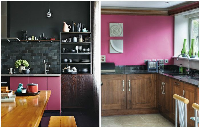 Keittiö vaaleanpunaisilla yksityiskohdilla.