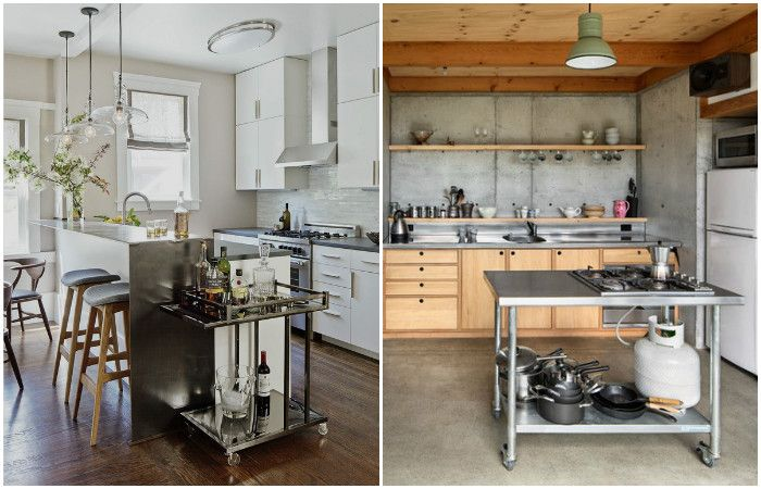 Тележки очень удобны на кухне.