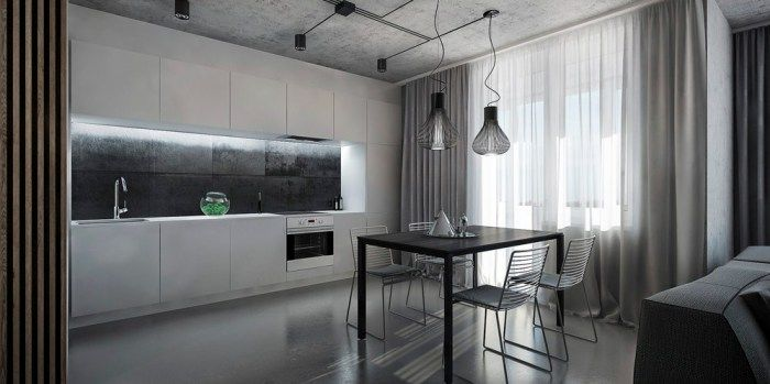 Сдержанная и брутальная бело-серая кухня.