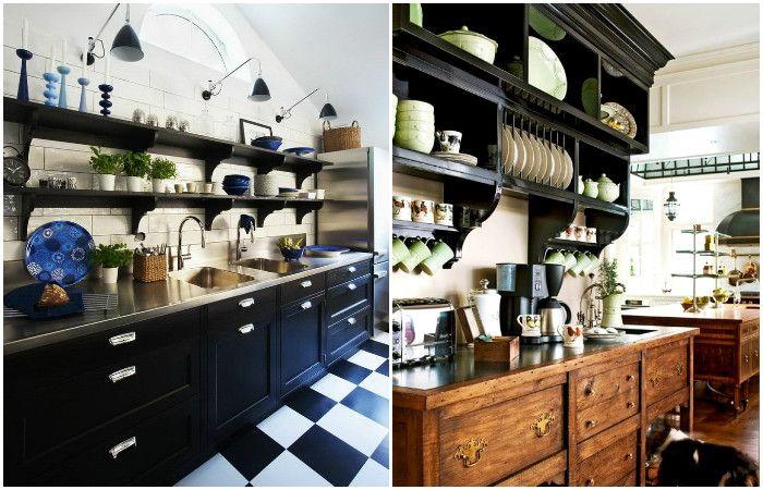 Кухненски интериор с отворени рафтове.