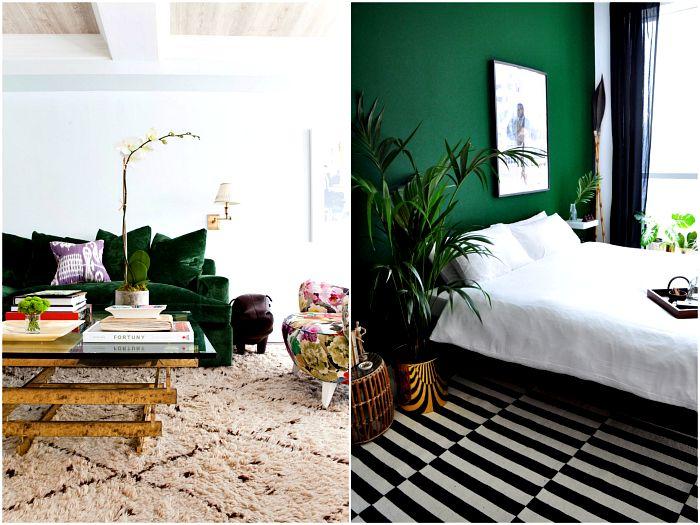 Изумрудно-зеленый цвет в интерьере.