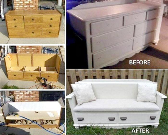 Przekształcanie drewnianej komody w małą sofę.