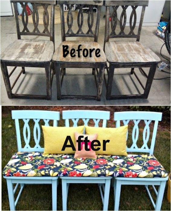 Jasna ławka ze starych krzeseł.