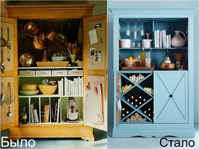 Konvertering av et gammelt kjøkkenskap til en hjemmeminibar.
