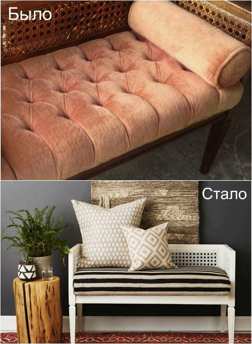Przekształcenie starej ławki w uroczą sofę.