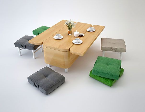 Незабываемые стол и стулья из тумбы-трансформера