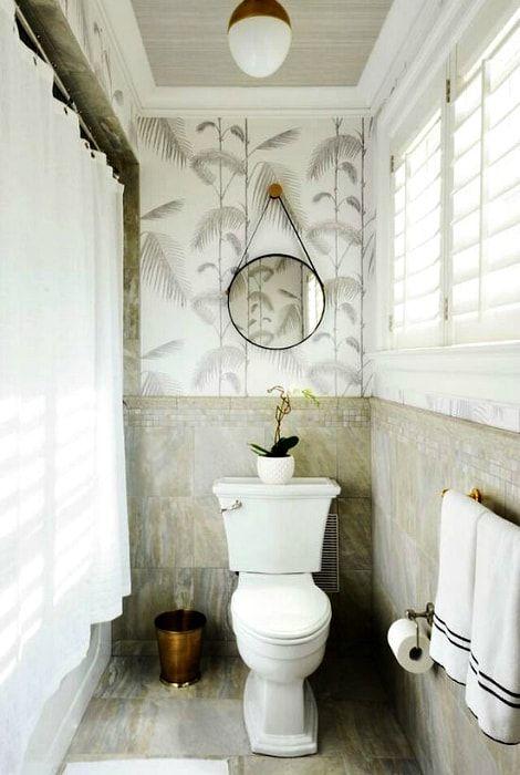 Łazienka w stylu tropikalnym.