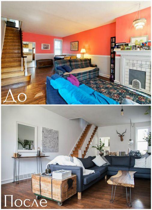 Трансформация пестрой гостиной в стильное нейтральное пространство.