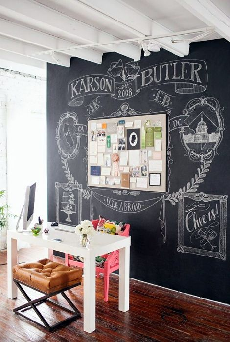 Покраска стены грифелькой краской.