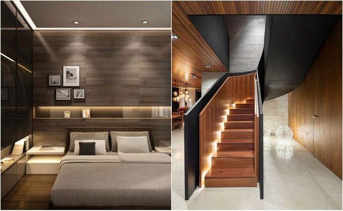 Примеры декора комнат при помощи скрытого освещения.