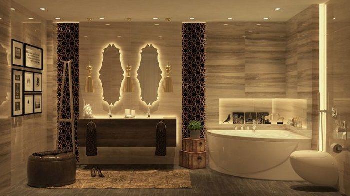 Łazienka została uszlachetniona niestandardowym rozwiązaniem oświetleniowym.