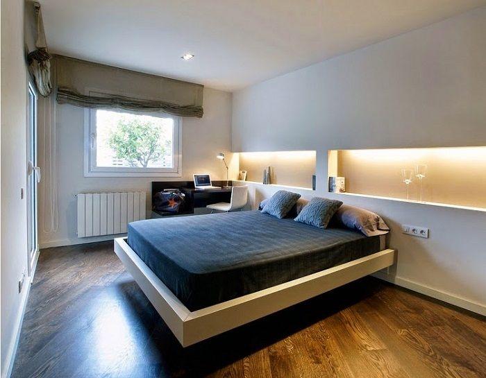 Sypialnię można urządzić w niestandardowy sposób wykorzystując ukryte oświetlenie.