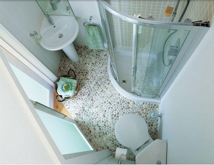 Преображение ванной комнаты при помощи отличного оформления пола, что понравится.