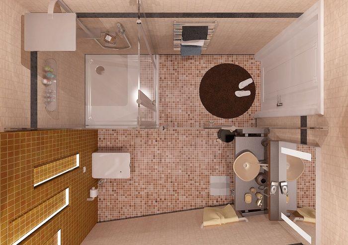Отличный пример оформления пола в ванной комнате крохотного размера - украшение пола интересной плиткой.