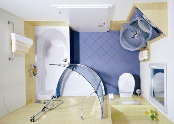 Если основные составляющие части ванной комнаты разместить в углу, то это позволит в свою очередь расширить комнату.