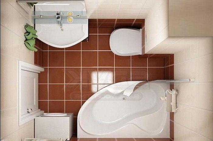 Декорировать пол крупной плиткой отличное решение для интерьера ванной комнаты.