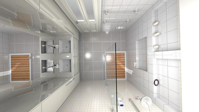 Интересный интерьер ванной комнаты в светло-серых тонах, что станет просто изюминкой любой квартиры, дома.