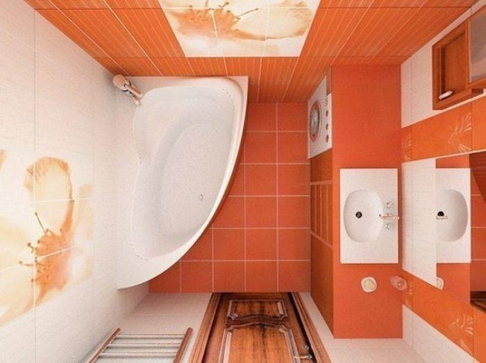 Преобразить интерьер ванной возможно с помощью использования яркой цветовой гаммы.