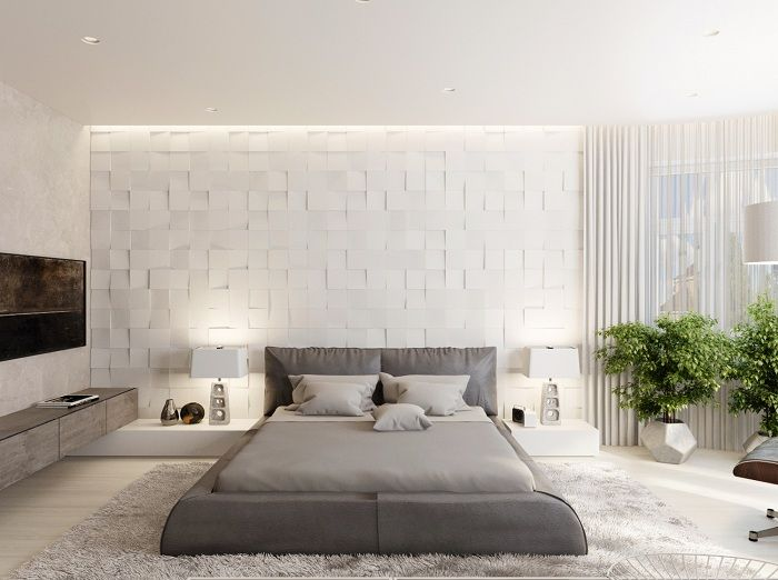 Добро решение за удобно декориране на стая със светлосива декорация на стени.