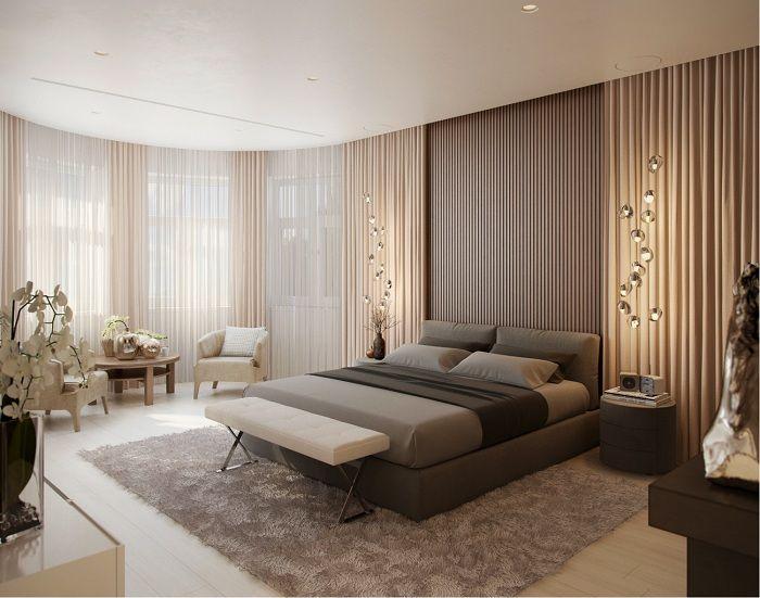Най-доброто решение за обзавеждане на интериора е създаването на обстановка за спалня в цветове за кафе и сметана.