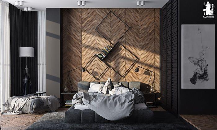 Интересно решение за оборудването на интериора на стаята благодарение на дървена стена.
