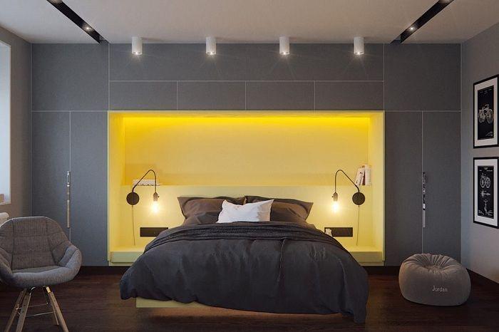 Оригиналният интериор на спалнята с ярко жълт цвят, който определено ще зарадва.