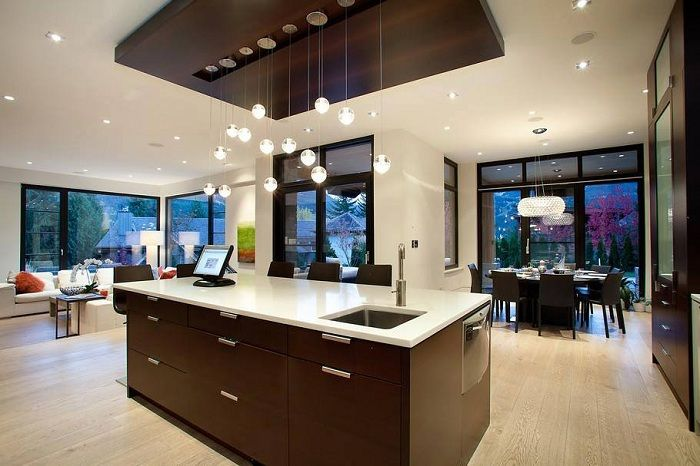 Оригинальный пример оформления интерьера кухни в современном стиле.
