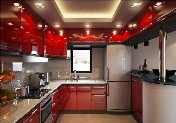 Отличный интерьер современной кухни в ярко-алом цвете.