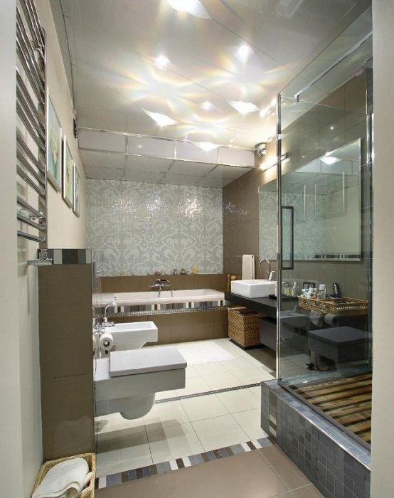 Хороший пример оформления ванной комнаты в современных тенденциях.