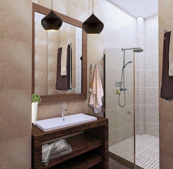 Сочетание мелкой белой мозаики с деревянными элементами декора – отменный вариант.