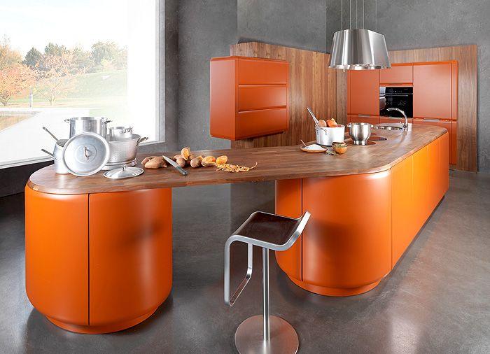 Дизайн на кухня в цвят тиква.