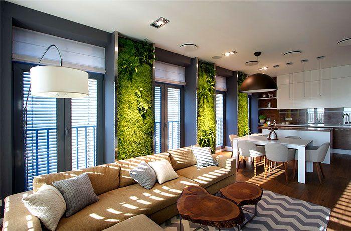 Кухня с вертикална зеленина от SVOYA.