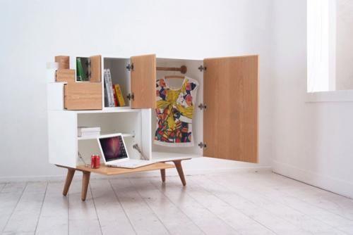 Красивый модульный шкаф в открытом состояние