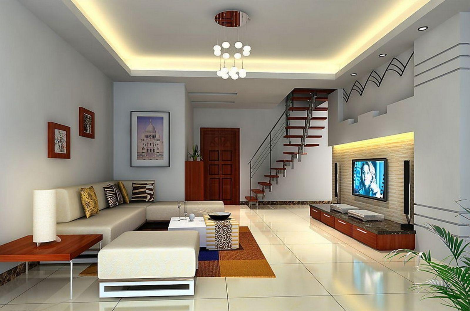 Светильники для гостиной: жёлтая подсветка по контуру потолка