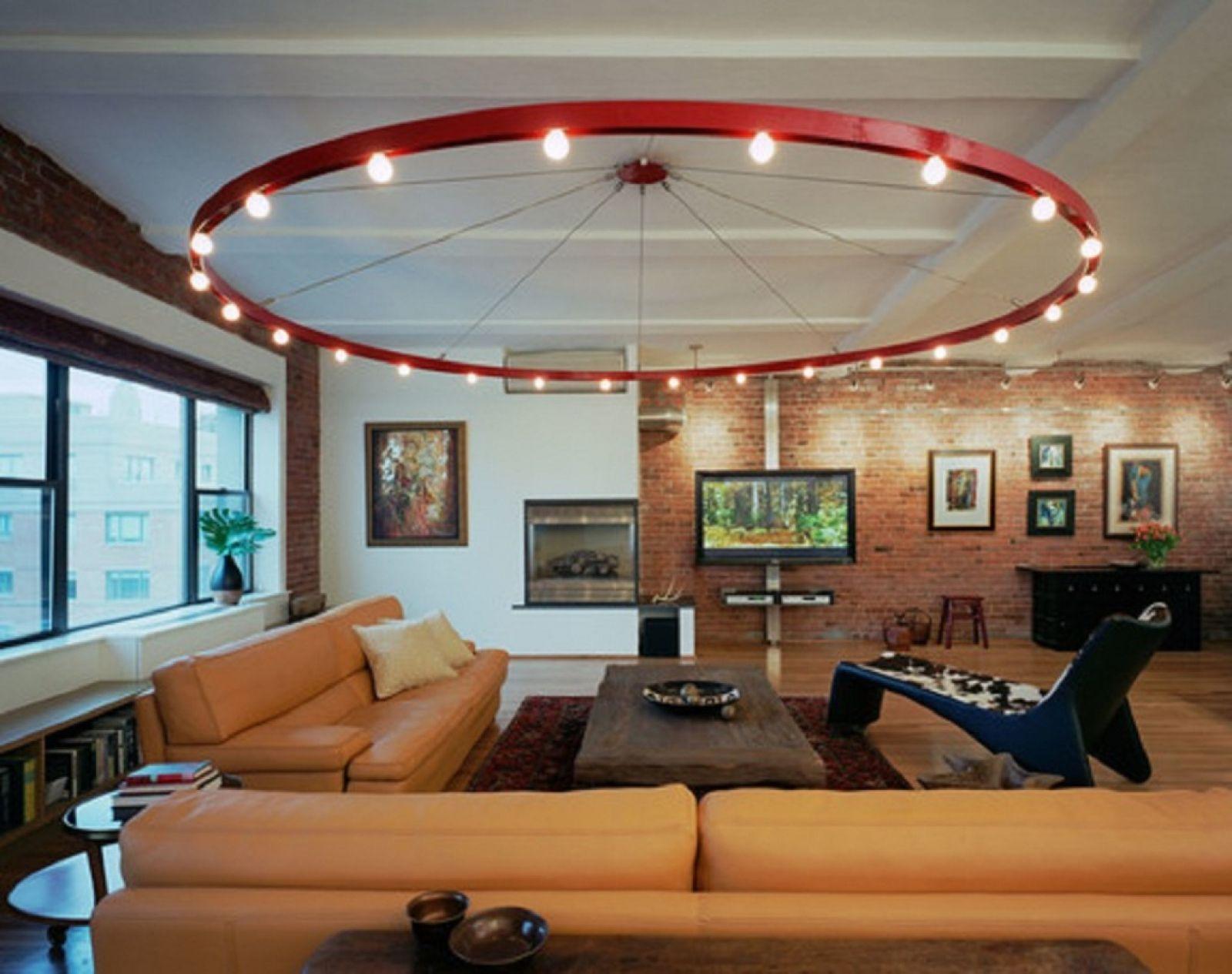 Светильники для гостиной: большая круглая люстра с маленькими лампочками