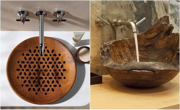 Прекрасные примеры деревянных раковин.