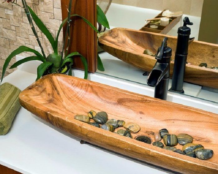 Украшение интерьера с помощью такой симпатичной и интересной деревянной раковины, что понравится.