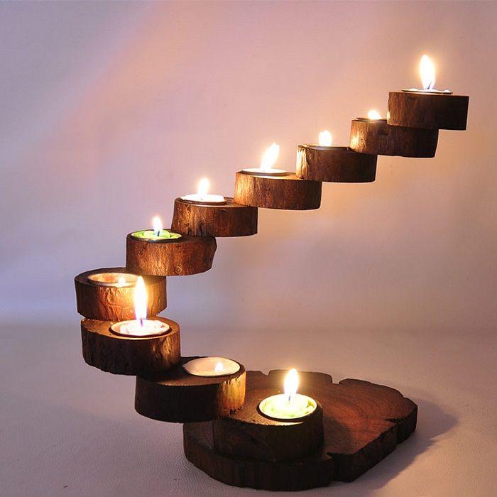 Интересен вариант е да се създаде такъв нестандартен дървен свещник, който ще се превърне в връх на интериора.