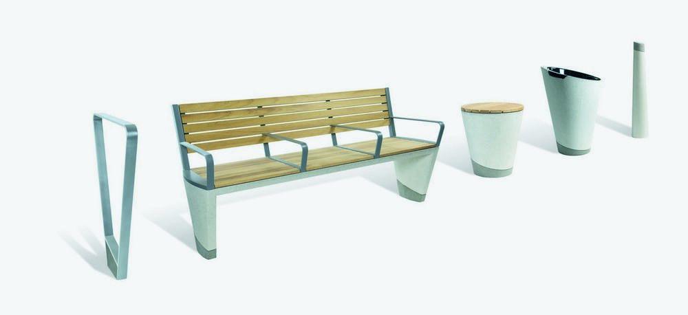 Уличная скамья, сиденье, урна, указатели