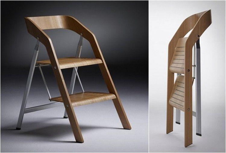 Оригинален стъпаловиден стол сгънат