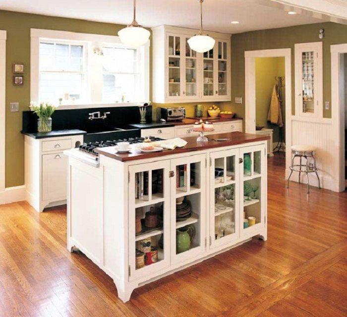 Sikeres és eredeti lehetőség a jó hangulat megteremtésére és a hasznos terület maximális optimalizálására a konyhában.